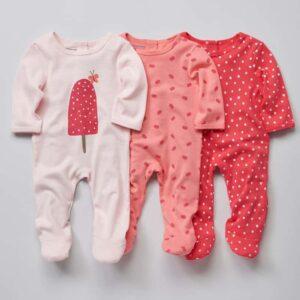 Lot de 3 pyjamas bébé en coton